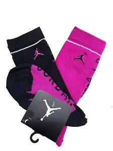 6 Pair Boys Nike Air Jordan Crew Socks Black Magenta Size 5Y-7Y Grade School