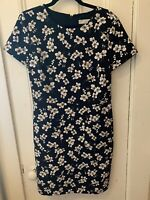 Ann Taylor Loft Short Sleeve Fitted Black With White Flowers Dress Size 8