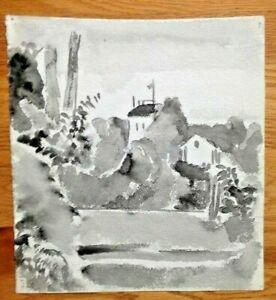 Karl Mattern Rare Landscape House WPA Era Watercolor Double Sided Drawing Iowa!!