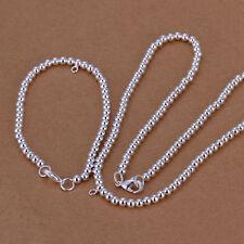 925Sterling Silver Jewelry Lovely Buddha Bead Necklace Bracelet Set 4MM S062
