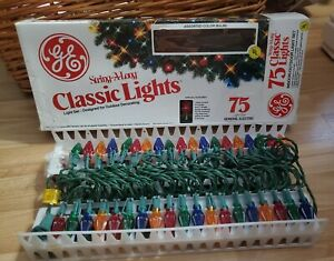 Vintage GE String-A-Long Classic Christma Lights 75 Outdoor Light Multi Color