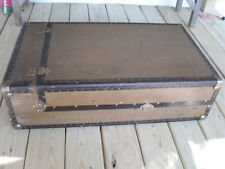 Antique Wardrobe Steamer Trunk Coffee Table Storage Chest Bar Hangers Key Tan