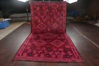 Semi-Antique Geometric Tribal Fuchsia Authentic Moroccan Wool Runner Rug 6'x12'