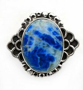 Natural Blue Sodalite 925 Genuine Sterling Silver Ring Jewelry Sz 7.5, ED20-5