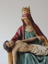 PIETA SKULPTUR FIGUR JESUS MARIA GIPS BEMALT SIGNIERT DATIERT 1914