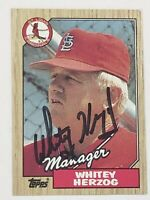 Whitey Herzog Signed Autographed 1987 Topps Card NM - Cardinals HOF Mgr.