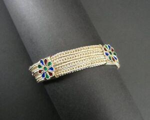 Enamel Multi Color Flowers Four Chain Pattern Sterling Silver 925 Chain Bracelet