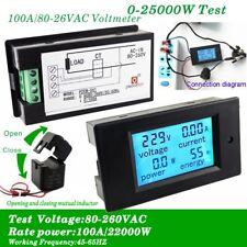 100a Ac Digital Lcd Panel Meter Current Meter Monitor Energy Ammeter Voltmeter