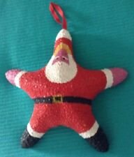STARFISH SANTA CLAUS Christmas Beach Ornament Large 9""
