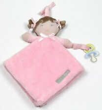 Blankets & Beyond Pink GIRL DOLL Brunette Pacifier Holder Security Blanket NEW