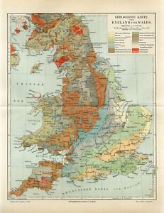 1895 ENGLAND and WALES GEOLOGICAL MAP GEOLOGY Antique Map
