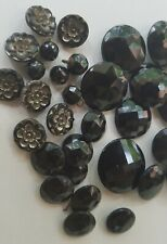 Antique Lot of 30 Black Faceted and Flower Glass Buttons! 1/4 to 1 Inch Wide