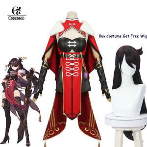 Genshin Impact Beidou Cosplay Costume Black Red Uniform Dress Cloak Set+Free Wig