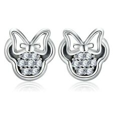 Minnie Mouse Silver Stud Earrings with Sparkling White Crystals