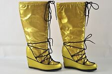COLIN STUART Gold/Brown Metallic Platform Wedge Pull On Knee High Boots Size 7