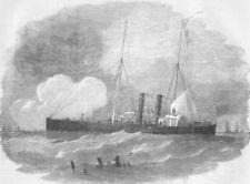 SHIPS. The Recruit steam gun-boat, antique print, 1855