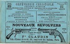 Stampa antica pubblicità NOUVEAX REVOLVERS CLAUDIN ecc. Paris 1870 Antique print