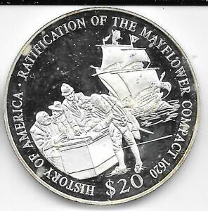 2000 Proof Liberia $20 .999 Silver History of America Mayflower Compact 1620