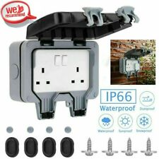 Waterproof Outdoor 13A 2Gang Storm Switched Socket Double IP66 Outside Use UK