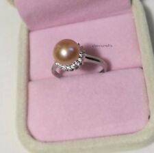 Genuine 9.9mm Freshwater pearl in 925 Sterling silver Ring adjustable size PinK