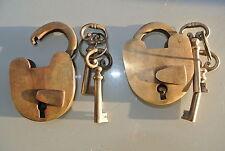 "2  PADLOCK Vintage stye old antique lock solid brass key heavy LOCKS 3"" keys 4 B"