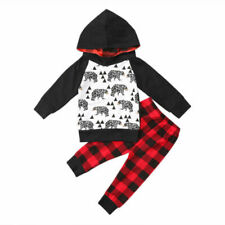 Bilo Christmas Baby Boy Clothes Set Cartoon Sweatshirt Hooded Outfits