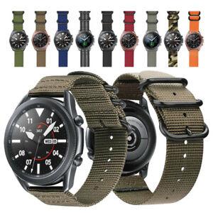 Samsung Galaxy Watch 3 45mm 41mm Watchband Strap Military Woven Nylon Watch Band