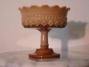 Greentown Chocolate Glass Melrose Footed Compote