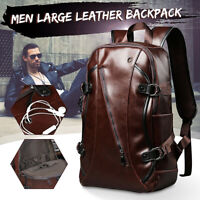 Men Leather School Backpack Laptop Shoulder Bag Travel Satchel Rucksack Handbag