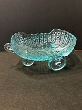 Vintage McKee Glass Daisy and Button Aqua  Blue Baby Carriage or Coach Bowl