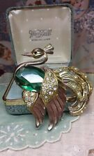 Antica spilla uccello paradiso pietra verde huge antique bird brooch brosche