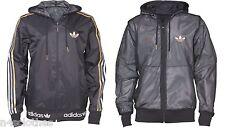 Adidas Mens Reversible Mesh Hooded Windbreaker Jacket Black Gold Silver White
