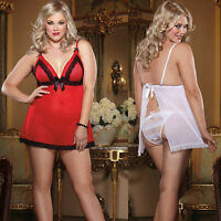 Plus Size Lingerie One Size 1X/2X, 3X/4X Red or White Valentine Babydoll DG8613X