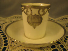 Crown Staffordshire ~ SILVER OVERLAY WHITE CUP & SAUCER ~ Miniature Sterling