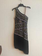 Randall Latin Ballroom Dance Dress - Swarovski & Black Lace  w/ Fringe Skirt