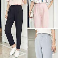 Women Pants Summer Female Classic High Elastic Waist Harem Trousers Slim Solid