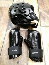 Century Martial Arts Adult M / L Sparring Gloves and Helmet in Black Boxing MMA