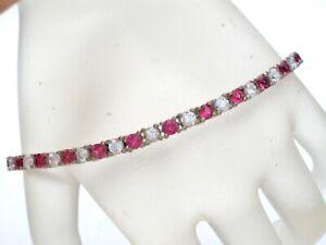 """Dark Pink & Clear Sapphire Tennis Bracelet 925 Sterling Silver 7.25"""" Long W"""