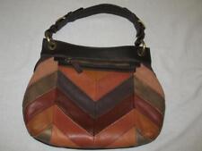 New Black Rivet Patches Patchwork Handbag Bag Purse Shoulder Tote Brown Leather