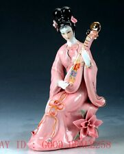Chinese Porcelain Handwork Carved Beauty Pattern Statue CX018