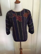 Vintage Adrienne Vittadini Purple Mohair Blend Sweater Small Gold 1990's