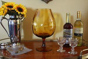 Midcentury Brandy Snifter Vase, Large Amber Goblet Vase, Hand-blown Gold Glass