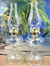 LOT OF 2 KEROSENE OIL LAMPS  ANTIQUE VERTICAL LINED FOOTED ROUND DESIGN GLASS