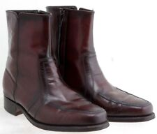 Florsheim Mens Side Zip Ankle Boots Brown Leather US 7.5D UK 6.5 EU 40 Vintage