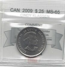 **2009 Cindy Klassen**, Coin Mart Graded Canadian, 25 Cent, **MS-65**