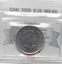 **2009 Cindy Klassen**, Coin Mart Graded Canadian, 25 Cent, **MS-65**
