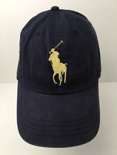 Polo Ralph Lauren Big Pony Hat Cap Blue Cotton Satin #3 Sz 8-20 Boys Women