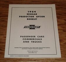 1954 Chevrolet Car & Truck Regular Production Options Manual 54 Chevy