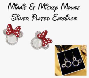 Disney Mickey / Minnie Silver Plated Stud/Dangle Earrings - Fast & Free Post