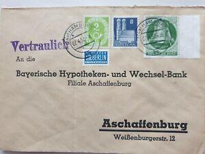 Berlin Brief Hamburg nach Aschaffenburg 7.4.1952 MiF 79wg/123/83 m. SR